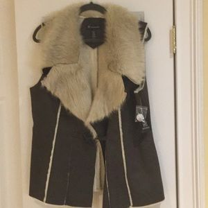 INC faux shearling vest, NWT
